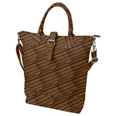 Wood Texture Wooden Buckle Top Tote Bag