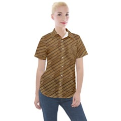 Wood Texture Wooden Women s Short Sleeve Pocket Shirt