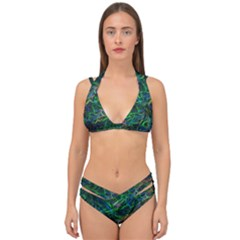 Shining Lines Light Stripes Double Strap Halter Bikini Set by HermanTelo
