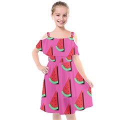 Fresh Watermelon Slices Kids  Cut Out Shoulders Chiffon Dress