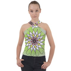 Mandala Model Figure Graphics Cross Neck Velour Top
