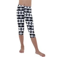Ethnic Tribal Pattern Kids  Lightweight Velour Capri Leggings  by Pakrebo