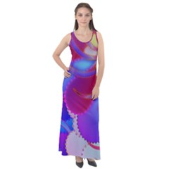 Colorful Abstract Design Pattern Sleeveless Velour Maxi Dress