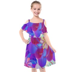 Colorful Abstract Design Pattern Kids  Cut Out Shoulders Chiffon Dress by Pakrebo