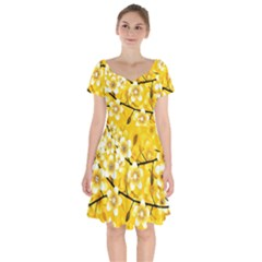 Floral Pattern Background Yellow Short Sleeve Bardot Dress