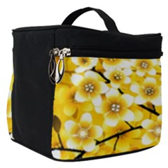Floral Pattern Background Yellow Make Up Travel Bag (small)