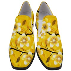 Floral Pattern Background Yellow Women Slip On Heel Loafers