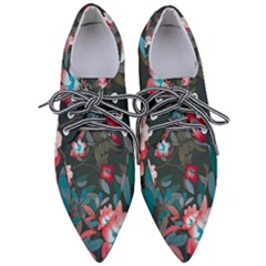 Floral Pattern Background Art Pointed Oxford Shoes
