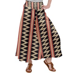 Zigzag Tribal Ethnic Background Satin Palazzo Pants