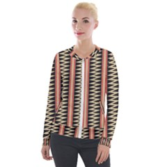 Zigzag Tribal Ethnic Background Velour Zip Up Jacket