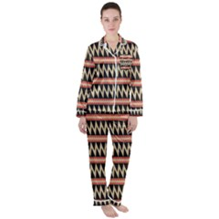 Zigzag Ethnic Pattern Background Satin Long Sleeve Pyjamas Set