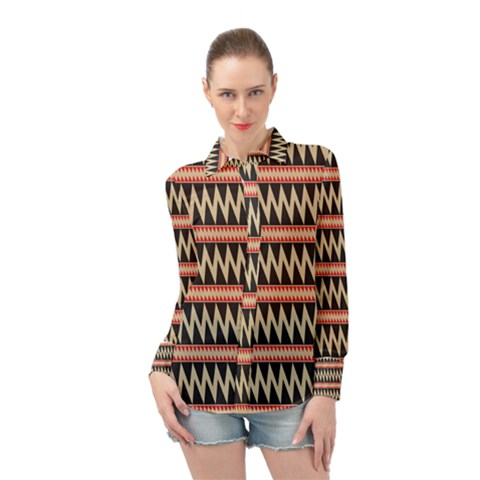 Zigzag Ethnic Pattern Background Long Sleeve Chiffon Shirt by Pakrebo