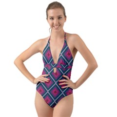 Purple Textile And Fabric Pattern Halter Cut Out One Piece Swimsuit by Pakrebo