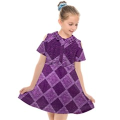 Purple Pattern Kids  Short Sleeve Shirt Dress