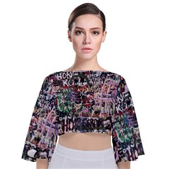 Graffiti Wall Background Tie Back Butterfly Sleeve Chiffon Top