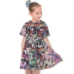 Graffiti Wall Background Kids  Sailor Dress by Pakrebo