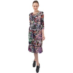 Graffiti Wall Background Ruffle End Midi Chiffon Dress