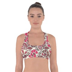 Floral Ethnic Pattern Cross Back Sports Bra