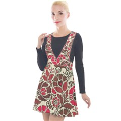 Floral Ethnic Pattern Plunge Pinafore Velour Dress
