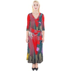Floral Pattern Background Texture Quarter Sleeve Wrap Maxi Dress by Pakrebo