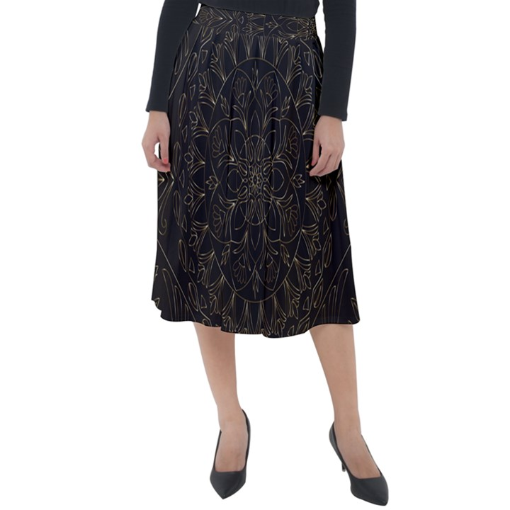 Floral Flowers Flourish Decorative Classic Velour Midi Skirt
