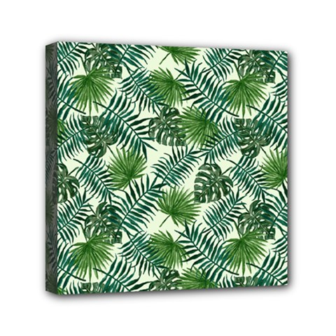 Leaves Tropical Wallpaper Foliage Mini Canvas 6  x 6  (Stretched)