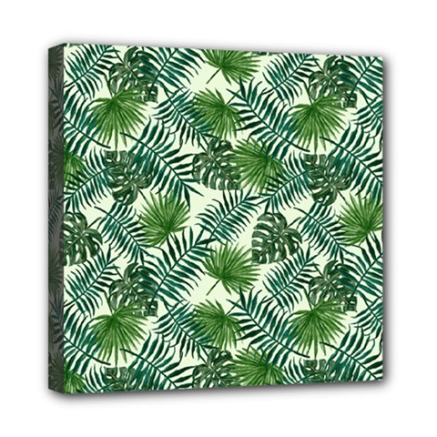 Leaves Tropical Wallpaper Foliage Mini Canvas 8  x 8  (Stretched)