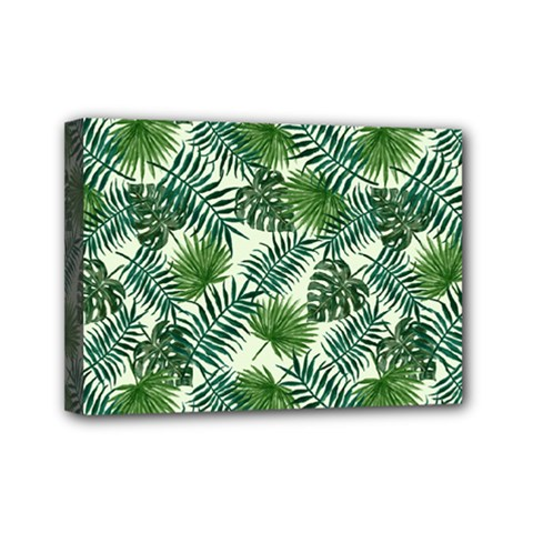 Leaves Tropical Wallpaper Foliage Mini Canvas 7  x 5  (Stretched)