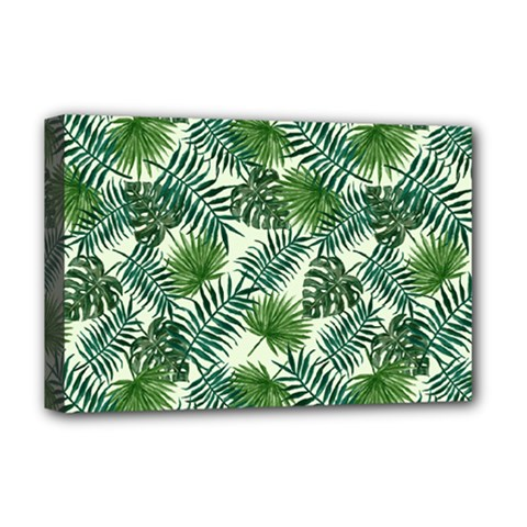 Leaves Tropical Wallpaper Foliage Deluxe Canvas 18  x 12  (Stretched)