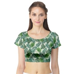 Leaves Tropical Wallpaper Foliage Short Sleeve Crop Top
