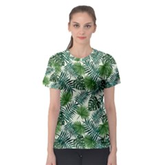 Leaves Tropical Wallpaper Foliage Women s Sport Mesh Tee