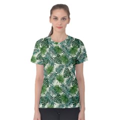 Leaves Tropical Wallpaper Foliage Women s Cotton Tee