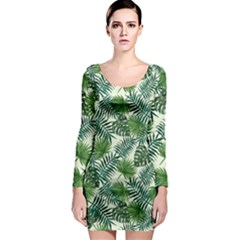 Leaves Tropical Wallpaper Foliage Long Sleeve Bodycon Dress