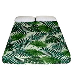 Leaves Tropical Wallpaper Foliage Fitted Sheet (King Size)