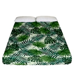 Leaves Tropical Wallpaper Foliage Fitted Sheet (California King Size)