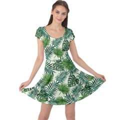 Leaves Tropical Wallpaper Foliage Cap Sleeve Dress