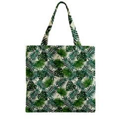 Leaves Tropical Wallpaper Foliage Zipper Grocery Tote Bag