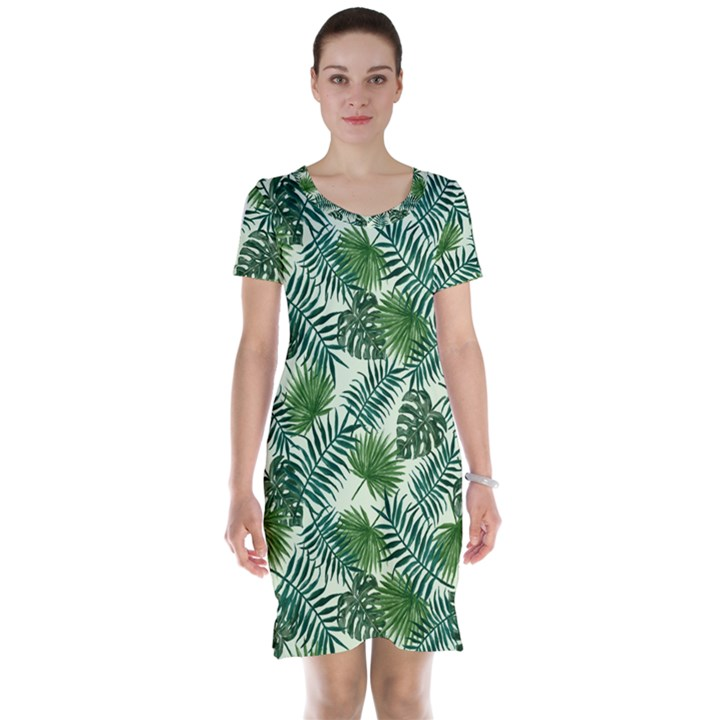 Leaves Tropical Wallpaper Foliage Short Sleeve Nightdress