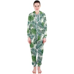 Leaves Tropical Wallpaper Foliage Hooded Jumpsuit (Ladies)