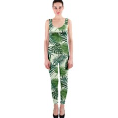 Leaves Tropical Wallpaper Foliage One Piece Catsuit