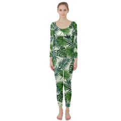 Leaves Tropical Wallpaper Foliage Long Sleeve Catsuit