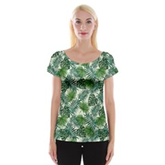 Leaves Tropical Wallpaper Foliage Cap Sleeve Top