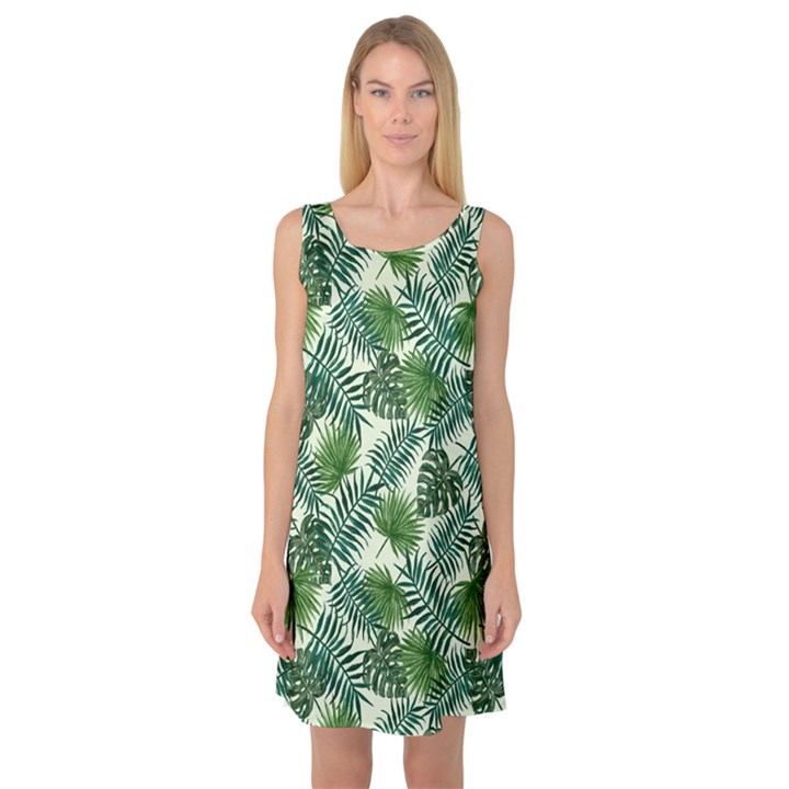 Leaves Tropical Wallpaper Foliage Sleeveless Satin Nightdress