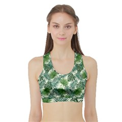 Leaves Tropical Wallpaper Foliage Sports Bra with Border