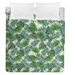 Leaves Tropical Wallpaper Foliage Duvet Cover Double Side (Queen Size)