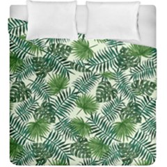 Leaves Tropical Wallpaper Foliage Duvet Cover Double Side (King Size)