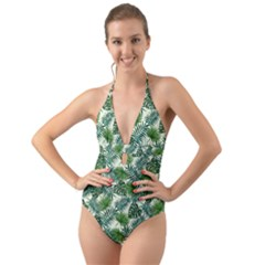 Leaves Tropical Wallpaper Foliage Halter Cut-Out One Piece Swimsuit