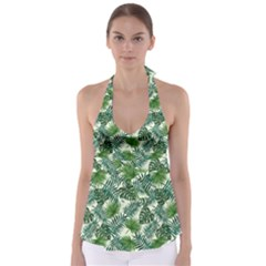 Leaves Tropical Wallpaper Foliage Babydoll Tankini Top