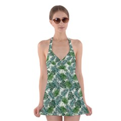 Leaves Tropical Wallpaper Foliage Halter Dress Swimsuit