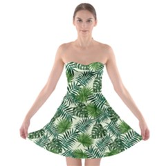 Leaves Tropical Wallpaper Foliage Strapless Bra Top Dress
